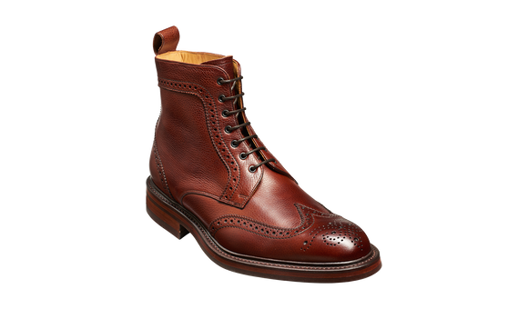 Calder - Cherry Grain Wingtip Boot with Rubber Sole