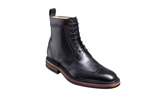 Calder - Black Calf Wing-cap Boot