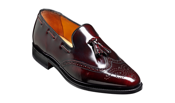 Clive - Burgundy Hi-Shine Wingtip Loafer Shoe