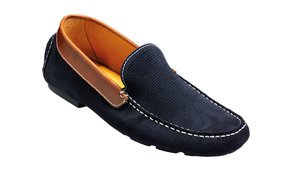 Denby - Navy Suede / Brown Collar Driving Shoe