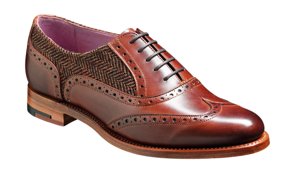 Freya - Walnut Calf / Brown Tweed Women Wingtip Shoe