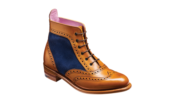Grace - Cedar Calf / Blue Suede Women Lace up Boot