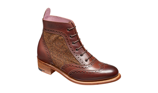 Grace - Walnut Calf Brown Tweed Women Lace up Boot