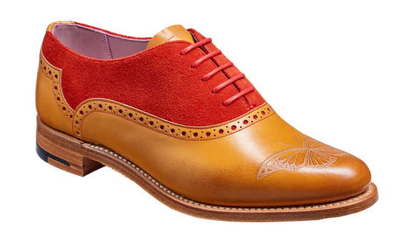Gwen - Cedar Calf / Red Suede Oxford Shoe