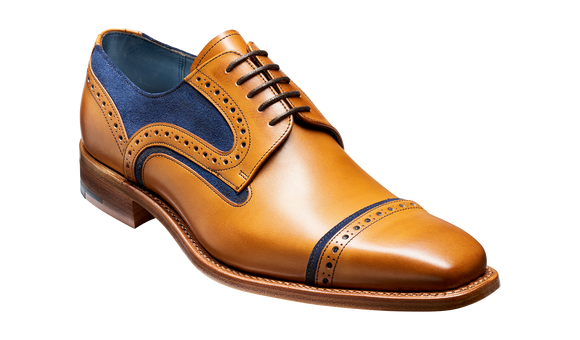 Haig - Cedar Calf / Blue Suede Toe Cap Derby Shoe