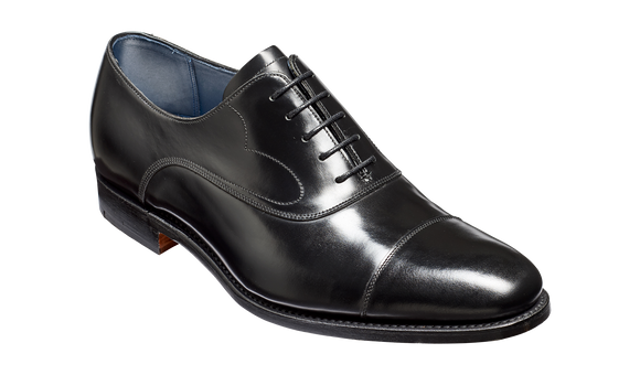 Hartley - Black Hi-Shine Oxford Toe-cap Shoe