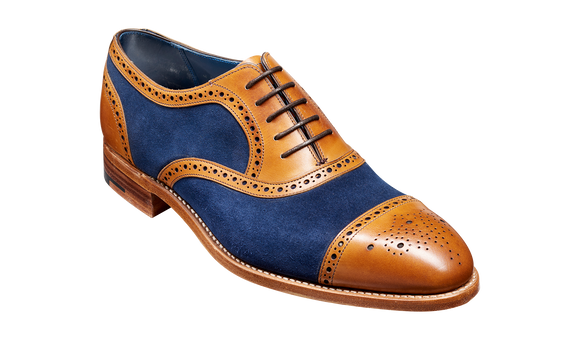 Hursley - Cedar Calf / Navy Suede Semi Brogue Shoe
