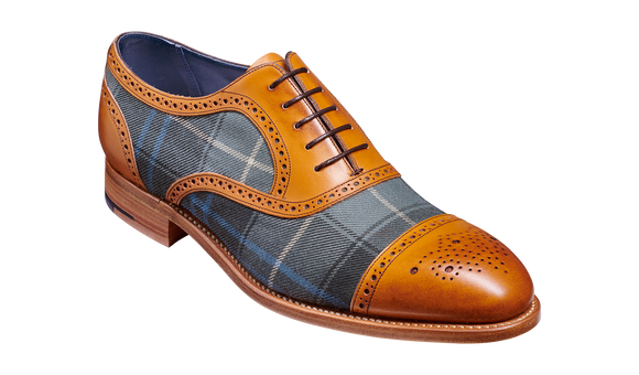 Hursley - Cedar Calf / Check Fabric Semi Brogue Shoe
