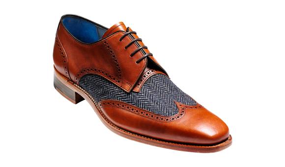 Jackson - Cedar Calf / Blue Tweed Derby Shoe