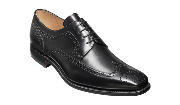 Larry - Black Calf Brogue Derby Shoe