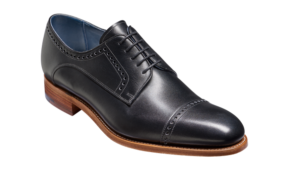 Marvin - Black Calf Toe Cap Derby Shoe