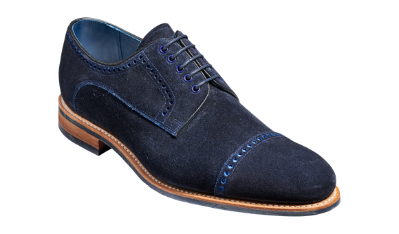 Marvin - Navy Cut Through Suede Derby Shoe