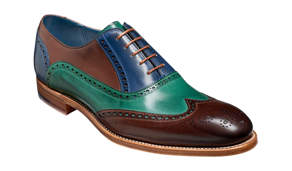 Valiant Multi - Ebony / Green / Blue Hand Painted Oxford Brogue