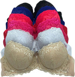6 Pieces Full Cup Embroidery Strapless Demi Plain/Lace Push Up Pushup B/C Bra (32B)