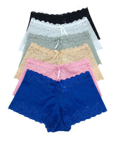 Iheyi 6 Pack of Women's Regular & Plus Size Lace Boyshort Panties Panty Underwear (Medium)