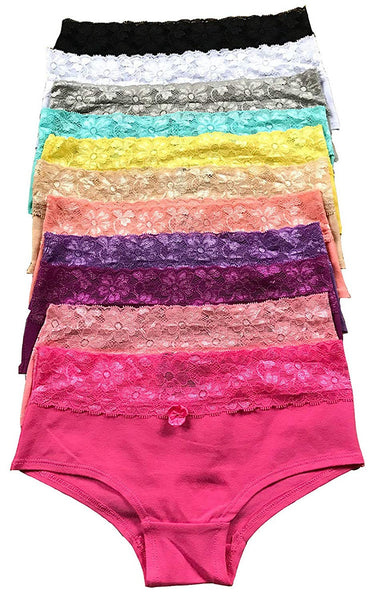 1 or 6 or 12 pieces LACE Women Cotton BIKINI Panty Underwear S/M/L/XL (943) (Large, 1 piece Any Color Possible) (SMALL, 12 pieces As Picture Show)