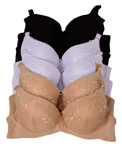 6 Piecec Full Cup/Demi Wired Gentle Pushup Push Up Bra B/C (36C)