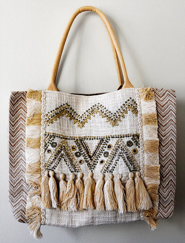 Sequined Fringe Tan Super Shopper
