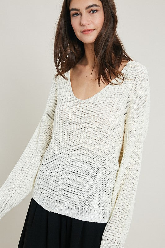 White Knit Pullover Sweater
