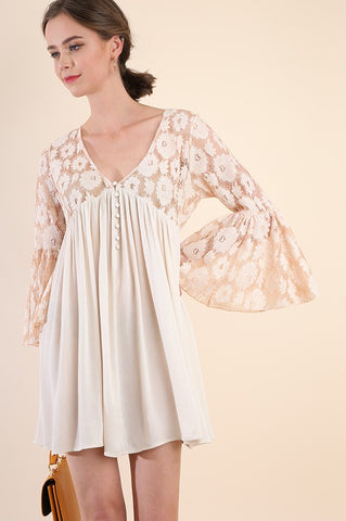 Bell Sleeve Lace Babydoll Dress