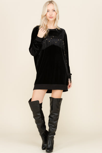 Black Velvet Fringe Dress