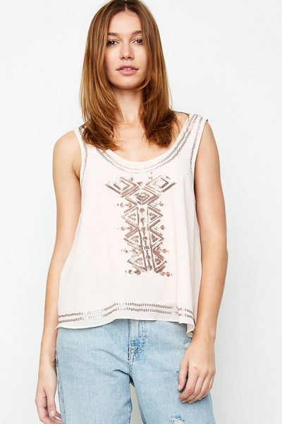 Blush Aztec Sequined Top