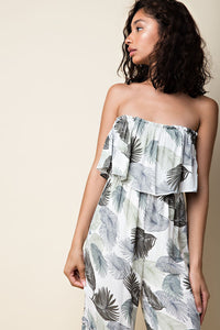 Off the Shoulder Palm Print Jumpsuit