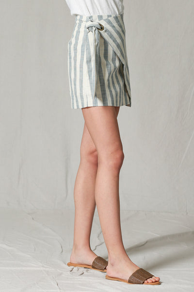 Blue/Ivory Striped Tie Skirt
