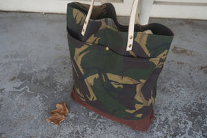 Camo Print Wax Coated Tote Bag - Zip Opening Everyday Bag Style AUT
