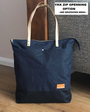 Load image into Gallery viewer, Navy Blue Wax Coated Tote Bag - Zip Opening Everyday Bag Style AUT