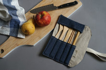 Load image into Gallery viewer, Denim Cutlery Roll - Reusable Blue Bamboo Cutlery Set