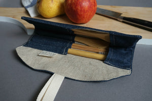 Denim Cutlery Roll - Reusable Blue Bamboo Cutlery Set