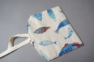 Fabric Cutlery Roll - Reusable Blue Fish Bamboo Cutlery Set