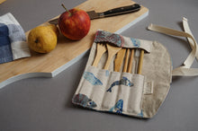 Load image into Gallery viewer, Fabric Cutlery Roll - Reusable Blue Fish Bamboo Cutlery Set