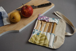 Floral Fabric Cutlery Roll - Reusable Bamboo Cutlery Set