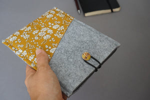 Protective Felt Kindle Sleeve with Capel G Mustard Contrast