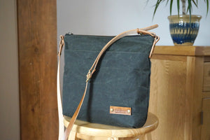 Olive Green Wax Coated Everyday Shoulder Bag - Green Casual Bag style: SPRING