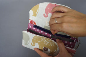 Elephant Fabric Wallet - Polka Dots Women's Wristlet Purse