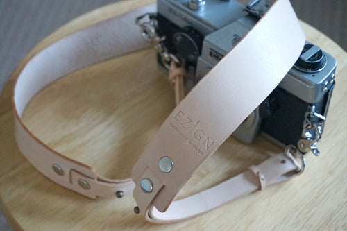 Adjustable Handmade Leather Camera Strap - Veg Tan Natural Genuine Cowhide style: AIDA