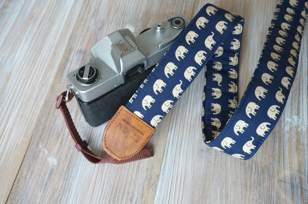 Elephants Camera Strap with Leather Trimming - DSLR Strap