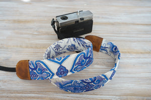 Camera Strap- Red Orange Blue Green Flowers