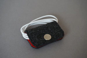 Grey Felt Earphone Wrap Holder, Minimalist Felt Organizer
