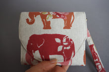 Load image into Gallery viewer, Elephant fabric Handmade Wallet Purse - Wristlet Slim Purse for Women