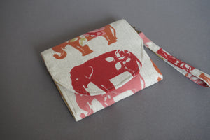Elephant fabric Handmade Wallet Purse - Wristlet Slim Purse for Women
