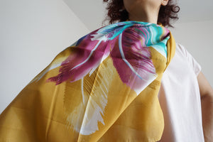 Women's Scarf and Headscarves - Green and Mustard Yellow Shawl