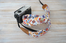 Load image into Gallery viewer, Camera Strap- Red Orange Blue Green Flowers