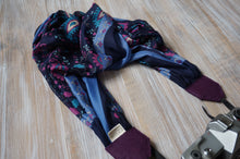 Load image into Gallery viewer, Fuschia Paisley  Scarf Camera Strap - Floral Shawl DSLR Strap
