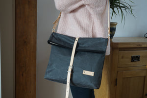 Grey Wax Canvas Cross Body Bag - Slate Everyday Bag style: DERE