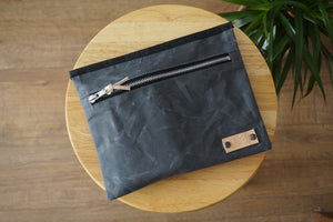 Grey Wax Coated Zip Pouch - Simple Unisex Zip Pouch Bag, style: OVA,  new collection EARTH