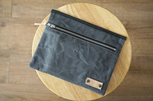 Load image into Gallery viewer, Grey Wax Coated Zip Pouch - Simple Unisex Zip Pouch Bag, style: OVA,  new collection EARTH